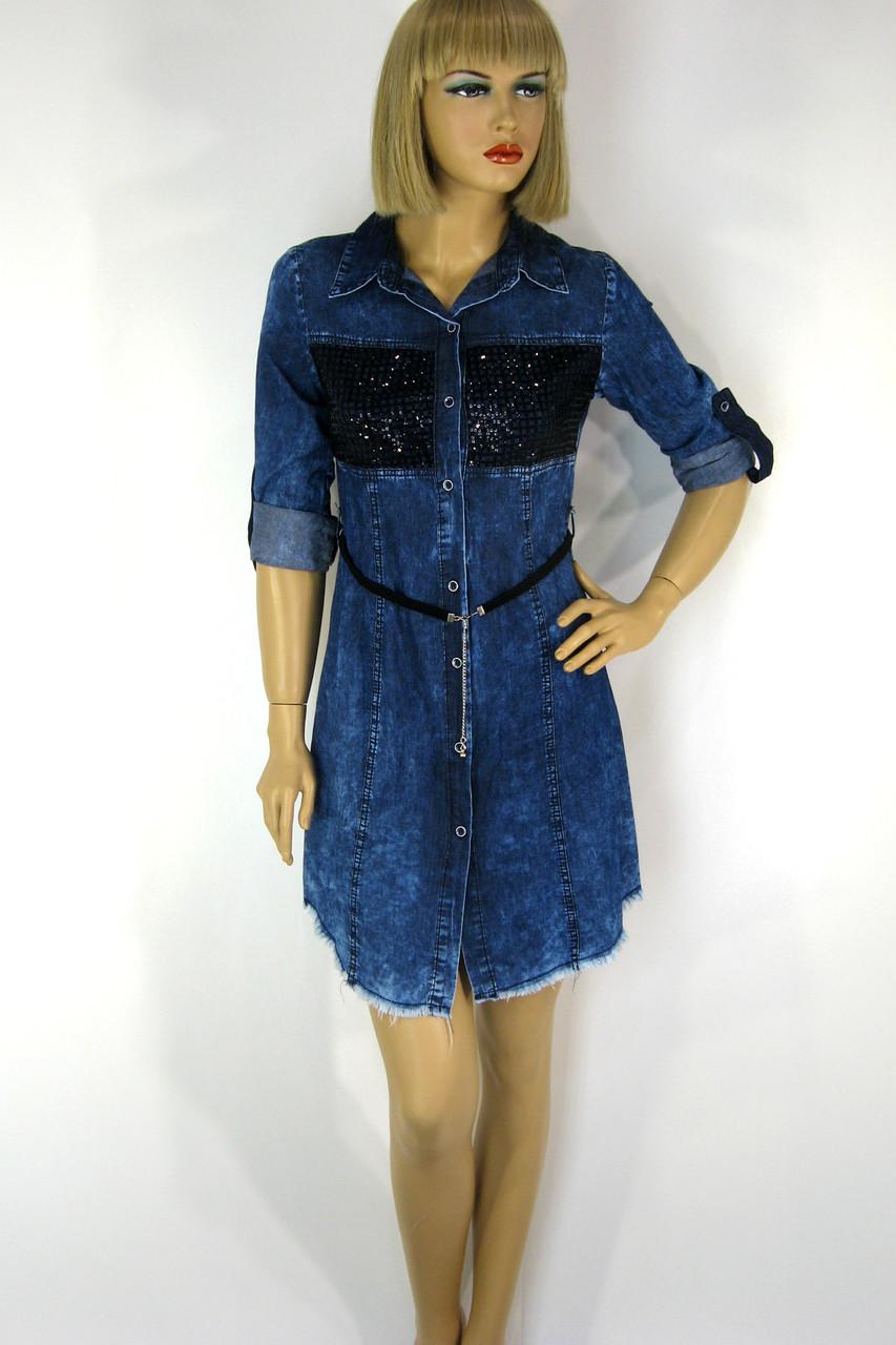 Джинсова туніка сукня з паєтками Neon