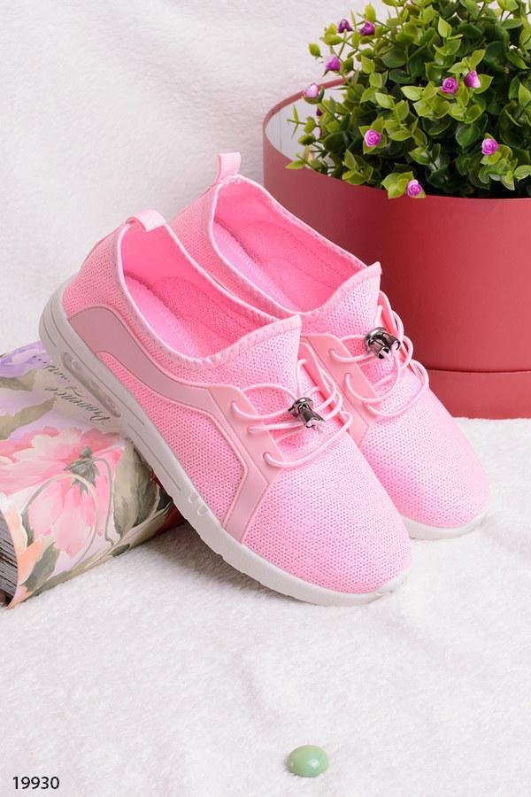 Женские яркие кроссовки стильные розовые текстиль