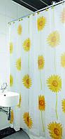 Шторки в ванную комнату Arya Sunflower 180х180 с подсолнухами