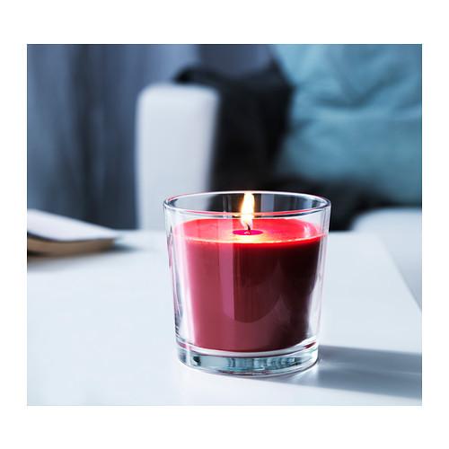 СИНЛИГ Ароматическая свеча в стакане, сладкие ягоды, красный, 7.5 см 7