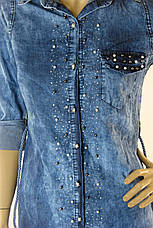 Жіноча джинсова  туніка з стразами Riva, фото 3