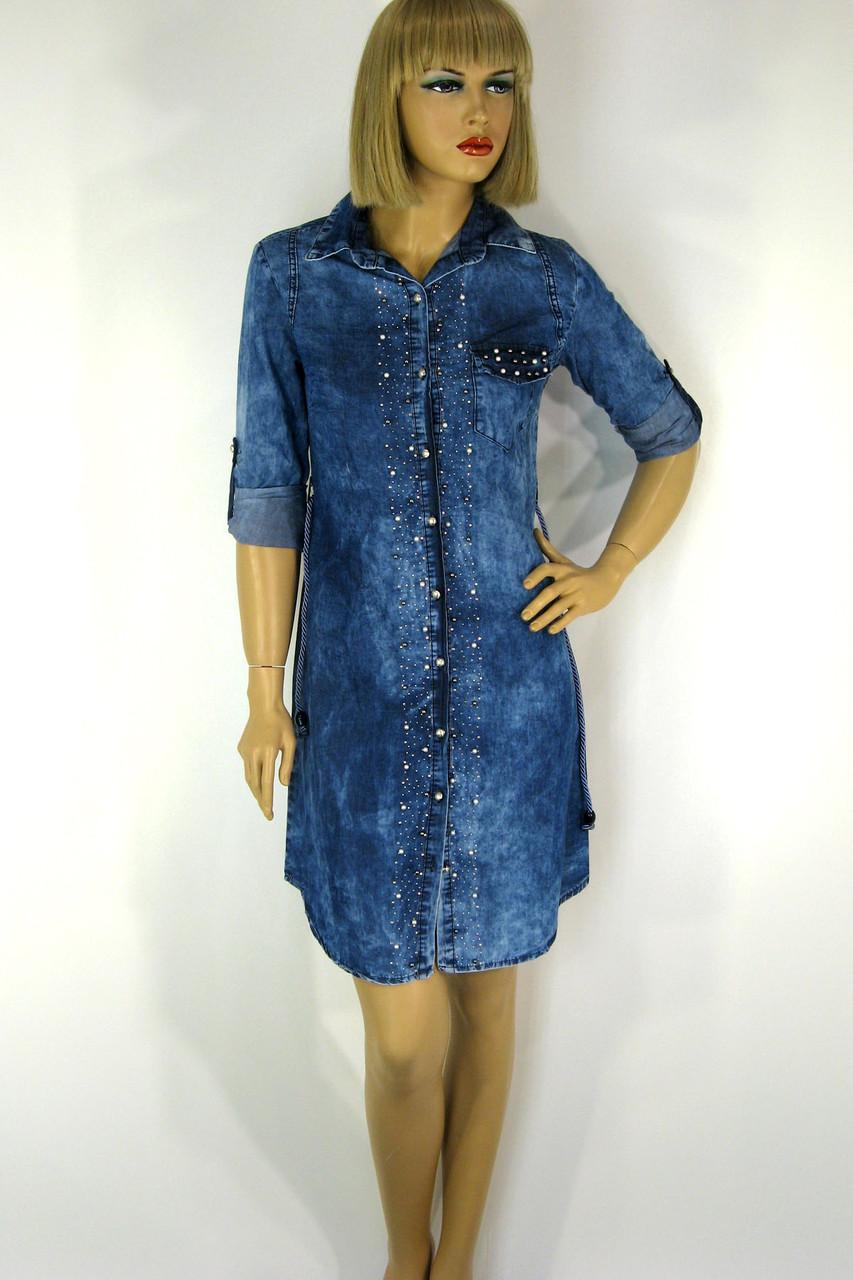 Жіноча джинсова сорочка туніка з стразами Riva