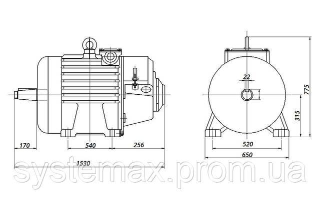 МТН 611-10 - IM1003 на лапах (габаритные и установочные размеры)