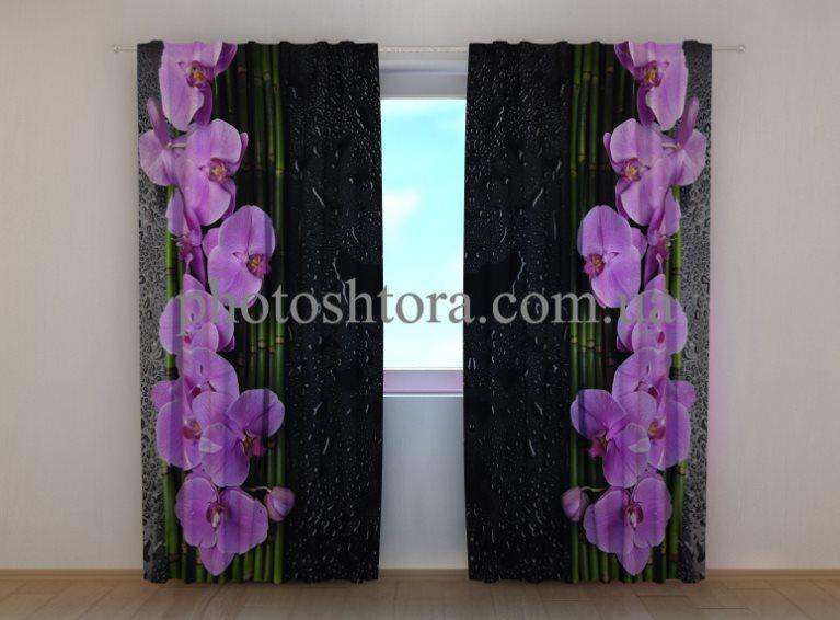 Фотошторы Орхидеи на черном