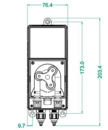габаритные размеры дозирующего насоса AquaViva Cl 1,5 л/ч (KXRX1H1HM1002)