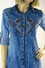 Жіноча джинсова сорочка туніка з вишивкою Riva, фото 3