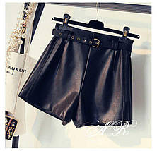 Короткие женские шорты из экокожи с ремешком 42-46 р, фото 3