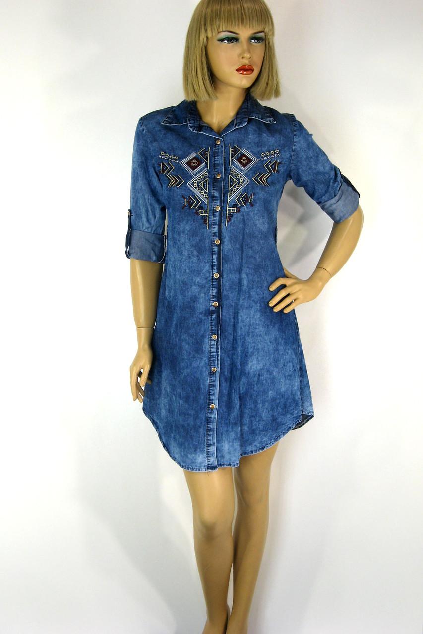 Жіноча джинсова сорочка туніка з вишивкою Riva