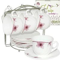 Набор чайный 12 пр.на стойке (чашка-190мл, блюдце-14см)Орхидея