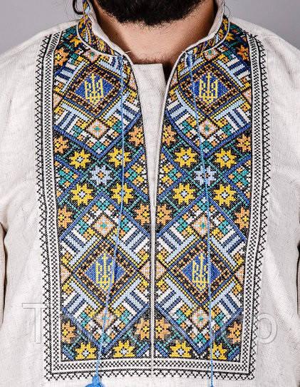 Мужская вышитая сорочка на домотканном сером лене с гербом.