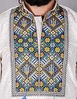 Мужская вышитая сорочка на домотканном сером лене с гербом., фото 1
