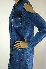 Жіноча джинсова туніка сорочка з відкритими плечима, фото 3