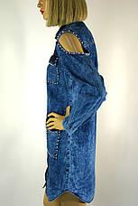 Жіноча джинсова туніка сорочка з відкритими плечима, фото 2