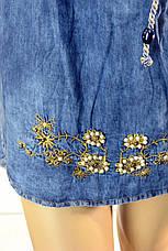 Жіноче джинсове плаття туніка з вишивкою Riva, фото 3