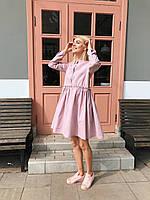 Платье розовое натуральный лен