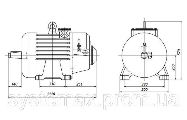МТН 511-6 - IM1003 на лапах (габаритные и установочные размеры)