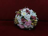 Свадебный букет-дублер розовый с белым и айвори