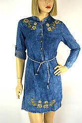 Жіноче джинсове плаття туніка з вишивкою Riva