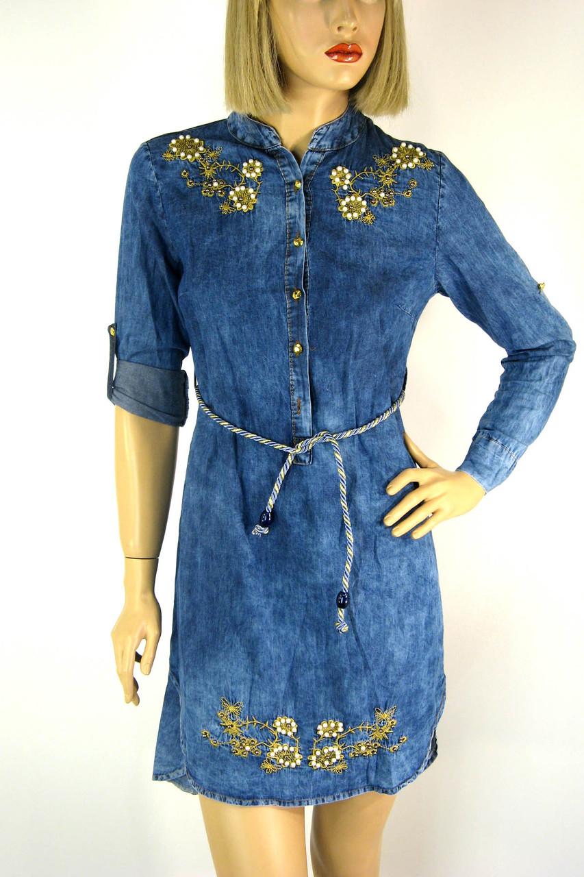 Жіноче джинсове плаття туніка з вишивкою Riva 4a5af0e3dc265