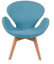 Дизайнерское кресло Сван Вуд Армз на буковых ножках, голубое