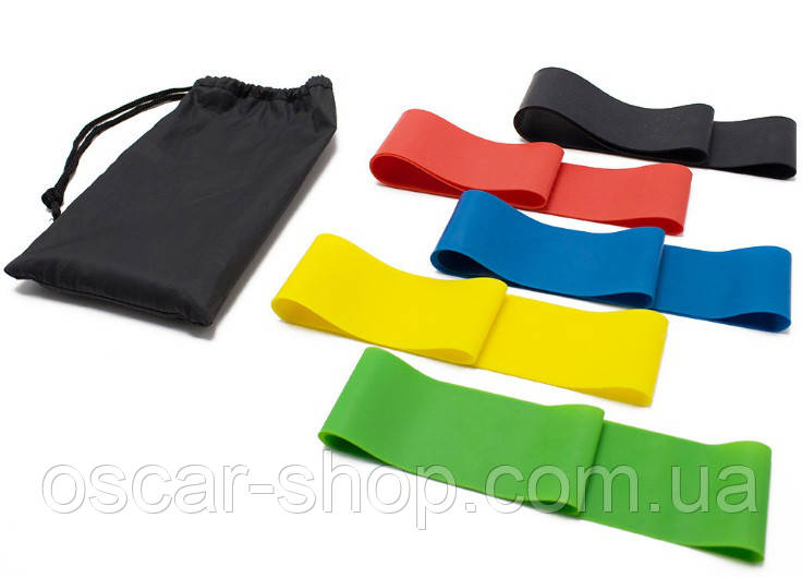 Гумки для фітнесу і йоги 30 см / Набір резинок для фітнесу і йоги 5 шт. / Фітнес гумка / Спорт гумка