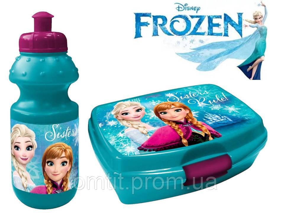 """Набор """"Frozen (Фроузен: Анна и Эльза)"""". Ланч бокс (ланчбокс) + бутылка, цвет бирюзовый"""