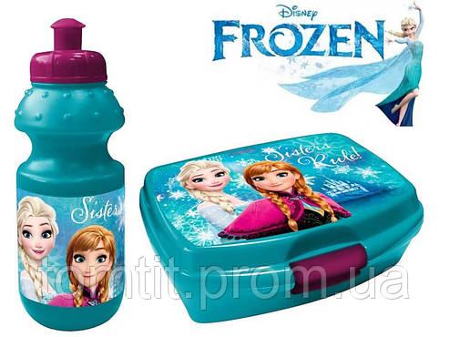 "Набор ""Frozen (Фроузен: Анна и Эльза)"". Ланч бокс (ланчбокс) + бутылка, цвет бирюзовый, фото 2"
