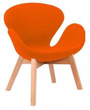 Дизайнерское кресло Сван Вуд Армз на буковых ножках, орнжевое