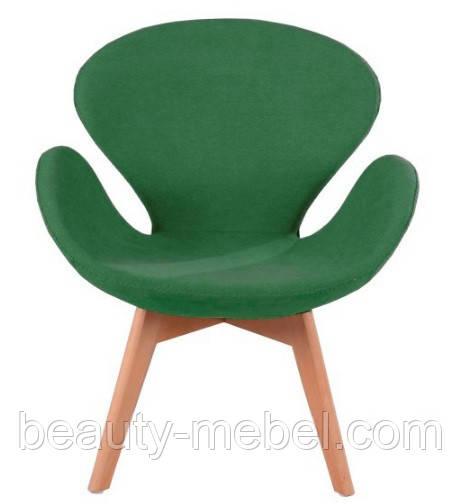Дизайнерское кресло Сван Вуд Армз на буковых ножках, зеленое