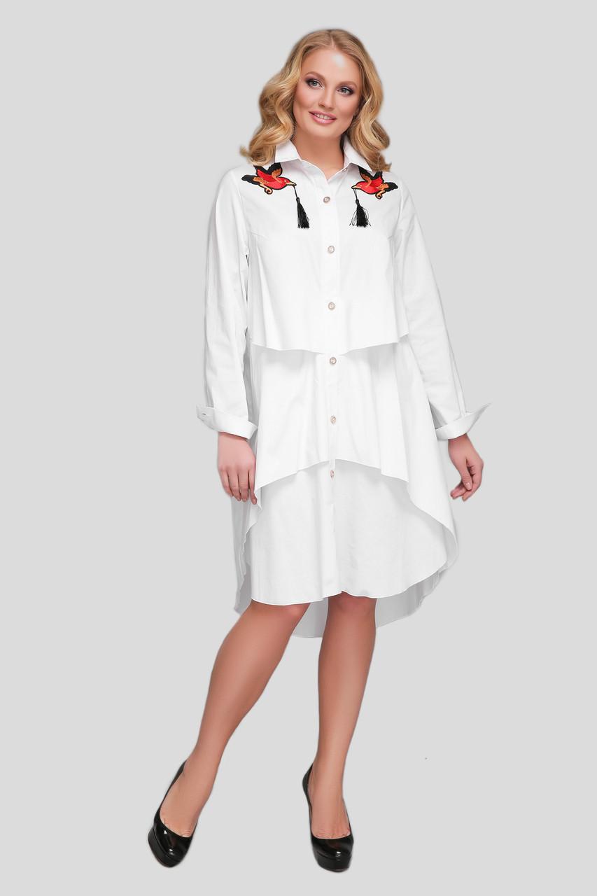 Біле плаття з бавовни для повних жінок Троя