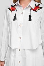 Белое платье из хлопка для полных женщин Троя, фото 3
