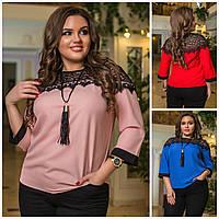 Стильная блузка вставки гипюр Батал до 58р 16070, фото 1
