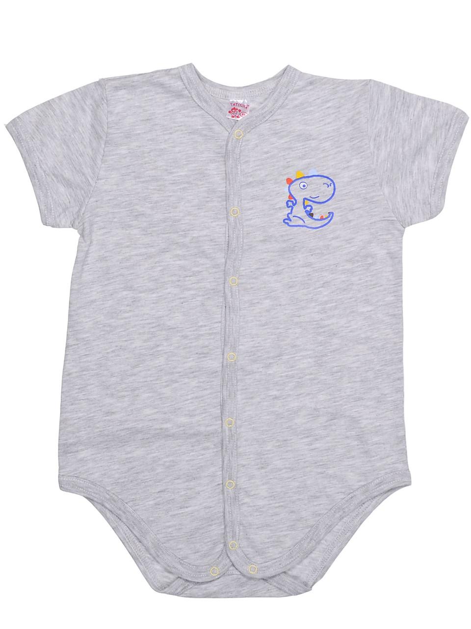Боди-футболка, кулир (100% хлопок), серый меланж 86 р