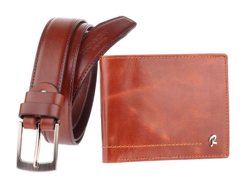 Мужской кошелек + ремень  Италия Rovicky коньячного цвета код 326