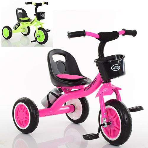Детский трехколесный велосипед TurboTrike М 3197-М-2 с корзинкой и бутылочкой для воды Гарантия качества