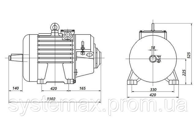 МТН 412-8 - IM1003 на лапах (габаритні і настановні розміри)
