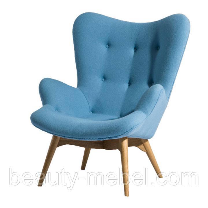 Дизайнерское кресло Флорино на буковых ножках, голубой