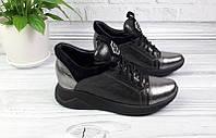 Кроссовки женские кожаные/замшевые черно-серебристые Ko0067
