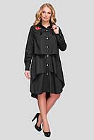 Черное свободное платье на лето для полных женщин Троя