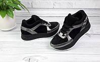 Кроссовки женские кожаные с замшевыми вставками черные Ko0054
