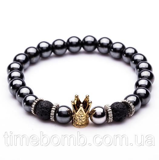 Мужской браслет из гематита с золотой короной (19 см)