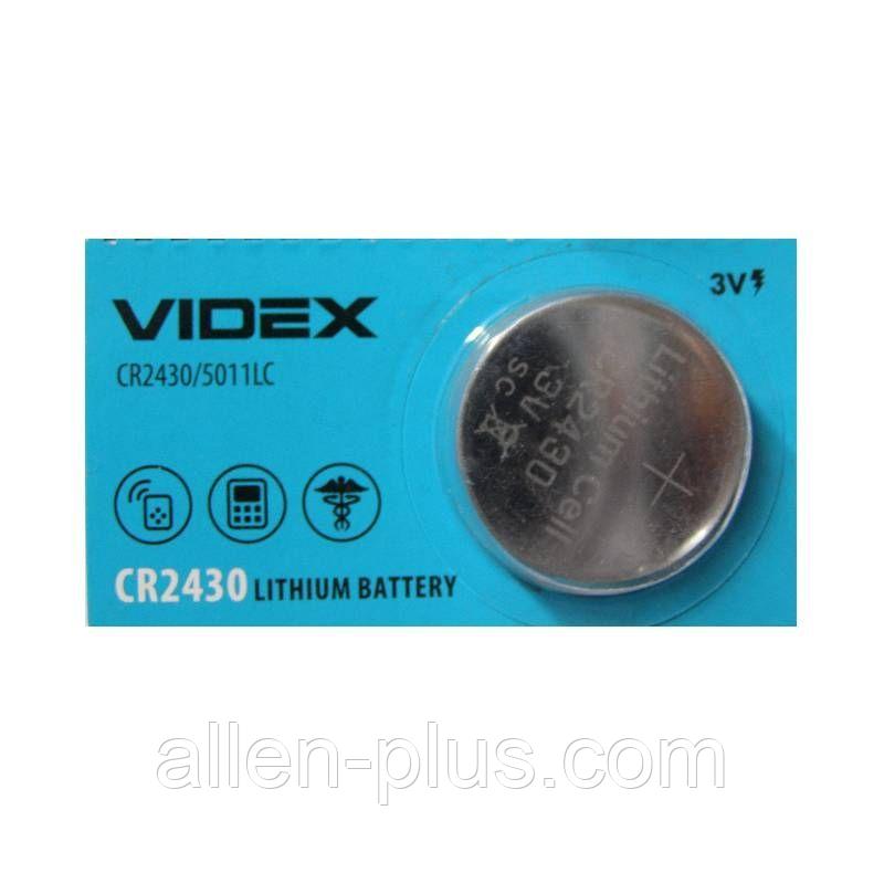 Батарейка литиевая Videx CR2430 3V 5pcs blister card 100 шт/уп