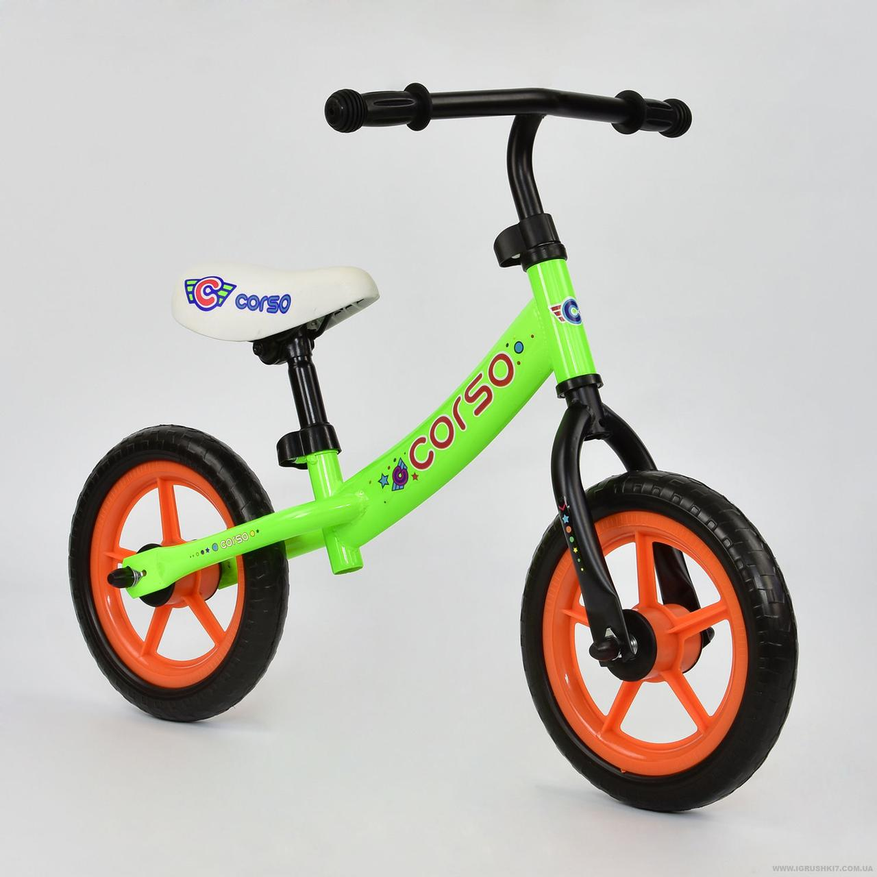 """Беговел-велобег С-7120 стальная рама, колесо 12"""" EVA (пена-резина), салатовый"""