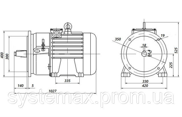 МТН 411-6 - IM2003 фланец на лапах (габаритные и установочные размеры)