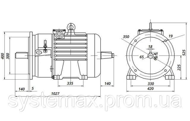 МТН 411-6 - IM2008 фланец на лапах (габаритные и установочные размеры)