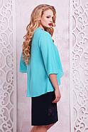 Женское нарядное платье с имитацией накидки Сандра размер 50-62 / цвет мята + темно-синий, фото 2