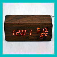 Настольные часы с красной подсветкой VST-862S-1