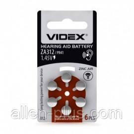 Батарейка воздушно цинковая Videx ZA312 1.45V (PR41) BLISTER 6