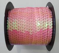 Пайетки на нитке (тесьма) розовые круглые голографические (диаметр пайеток 6 мм), фото 1