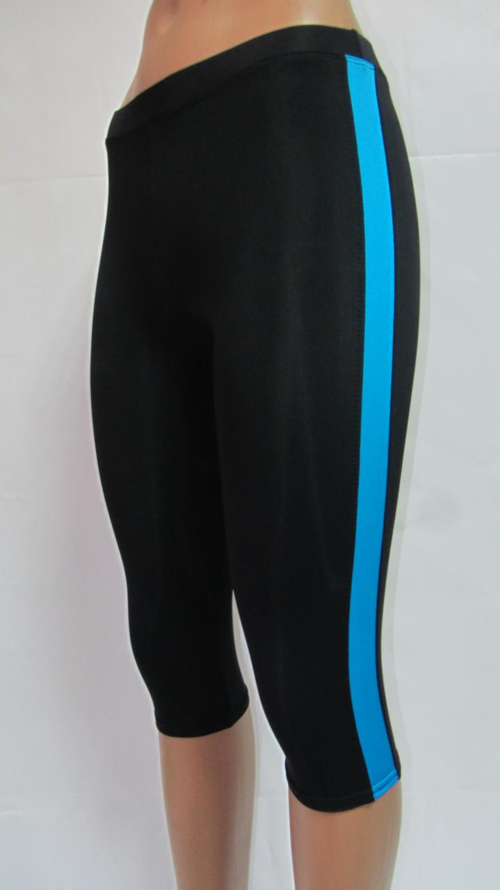 Женские леггинсы для фитнеса черные с голубыми лампасами